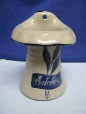 Williamsburg Pottery Salt Glaze Cobalt Blue Gray Match Holder Wall Pocket Vase