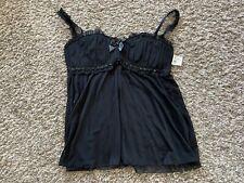 Vintage Y2k Frederick's Of Hollywood Black Lingerie Sequins Slip Babydoll NWT XL