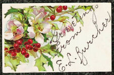 Embossed Greeting Postcard c1910 Chromo Flowers & Berries with Glitter Writing