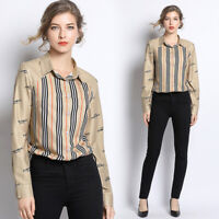2019 Spring Summer Fall Striped Print Women Casual Long Sleeve Shirt Top Blouse
