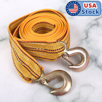 13FT 3Tons Car Emergency Tow Cable Heavy Duty Towing Pull Rope Strap With Hooks