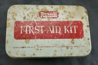 """Collectible Vintage Medical Rexall First Aid Kit Tin With Contents 6""""x4"""""""