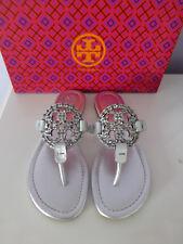 0bd31a25061 NIB Tory Burch Miller Embellished Crystal Stud Leather Sandal Silver 5  228
