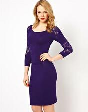 Knee Length Lace Scoop Neck 3/4 Sleeve Dresses for Women
