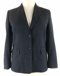 Talbots 12 P Blazer Wool Bl Gray Pin Stripe 2 Pocket Suit Jacket Lined Large LN