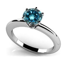 1/4 CARAT BLUE DIAMOND ENGAGEMENT RING GORGEOUS SINGLE DIAMOND 14 K GOLD