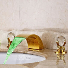 LED Waterfall Spout Bathroom Faucet Crystal Handles Tub Sink Mixer Tap Golden