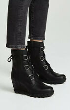 NEW! SOREL Joan Of Arctic Wedge Boot II Women's 7 Laces Black Leather Waterproof