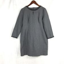 Talbots Petite Womens Gray w Faux Leather Trim LS Rayon Nylon Spandex Dress 14P