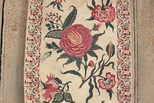 Antique French Indienne printed cotton 19th hand block printed BORDER