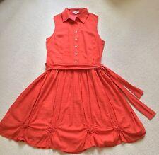 Boo Radley Dress L Large Orange Fit And Flare Sleeveless Collar