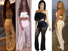 Women High Waist Party Lace See-Through Palazzo Trousers Top 2 Pcs Set Bralet UK