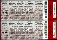 Linkin Park Tickets 2 Rare Unused Projekt Revolution July 27th 2007 Sleep Train