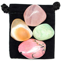 OVERCOMING TRAUMA Tumbled Crystal Healing Set = 4 Stones + Pouch + Description