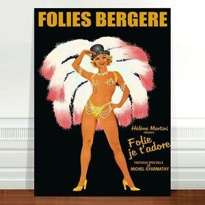 "Vintage French Caberet Poster Art ~ CANVAS PRINT 24x16"" Folies Bergere"