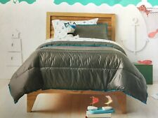 Pillowfort Puffer Sham and Comforter Set, Twin Size, Gray With Blue Trim