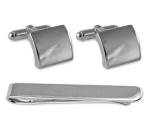 Sterling Silber Perlmutt Quadrat Manschettenknöpfe Krawatte Clip Schachtel Set