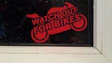 Cuidado con las bicicletas moto decal sticker coche furgoneta ventana pensar Bicicleta Seguridad HQ