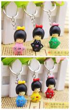 Wholesale 12 pcs girl Japanese Oriental Kokeshi Doll Handbag Charm Key chain
