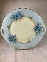 Vintage Thomas Bavaria Hand Painted Flowers Tab Handle Serving Plate Signed e454