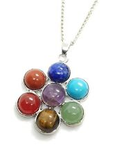 7 Chakra Flower of Life Gemstone Pendant Chain Necklace Reiki Charged Healing
