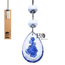 Blue Rose Carved Suncatcher Crystal Prisms Lighting Parts Hanging Pendants 50mm