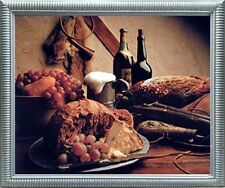 Wine & Fruit Pheasant Still Life Kitchen Wall Decor Silver Framed Picture Art...