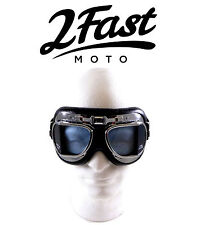 2FastMoto Red Baron Goggles Chrome Frame Street Sport Bike Cruiser Chopper