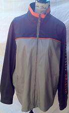 Men Perry Ellis PE Grey Blue Jacket Full Zip Sail Ocean Weather Resistant L