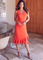 Kaleidoscope Frill Hem Slip Shift Coral Red Dress Size 12