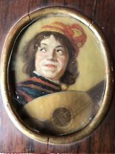 Stunning Miniature Painting Framed In Beautiful Rosewood Box Antique Rembrandt