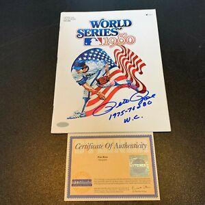 "Pete Rose ""1975,76,80 W.S.C."" Signed Inscribed 1980 Program World Series Steiner"