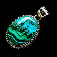 "Malachite In Chrysocolla 925 Sterling Silver Pendant 1 1/2"" Jewelry P723366F"