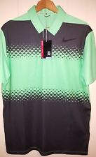 NEW Tiger Woods Nike Golf Polo Shirt Mens Medium 833165-300 Green & Black