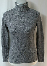 First Issue Small Black Marbled Turtleneck Sweater, New without Tags