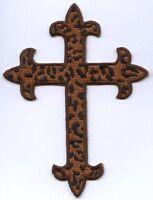 Fleur de lis Cross - Cheetah - Religious Iron on Applique/Embroidered Patch