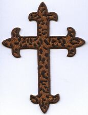 Fleur de lis Cross - Cheetah - Religious Iron on Applique/Embroidered Patch