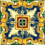 Mediterranean Spanish Ceramic Tiles - Alicante - 4 X 4""