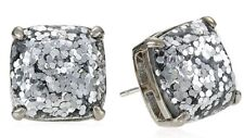 Kate Spade New York Silver Glitter Small Square Stud Earrings