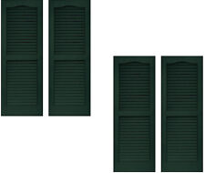 2 Pairs VANTAGE Exterior Louver Arch Shutters 14 x 35 Vinyl MIDNIGHT GREEN USA