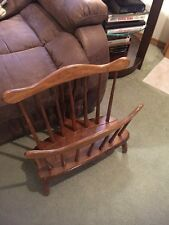 2345) Vintage Early American Solid Maple Wood Magazine Rack Holder R. Veal & Son