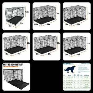 Dog Crate Kennel Folding Pet Cage Metal Double Door Tray Pan W/ Divider