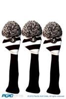 Tour #3, 5, 7 Fairway Metal Wood Black White Golf Headcover Knit Pom Pom Cover