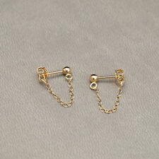 Gold Filled Front to Back Chain Stud Drop Earrings - Simple Minimalist UK