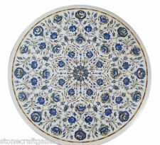 "24"" Marble Coffee Center Table Top Lapis Inlay Pietra Dura Art For Home Decor"