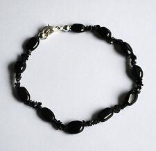 Turmalin Armband mit Onyx Splittern, dunkelgrünes Edelstein Armband