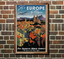 Pan Am Europe by Clipper Airline Travel Poster [6 sizes, matte+glossy avail]