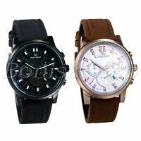 Men's Army 3 Time Zones Decoration Date Display Leather Strap Quartz Wrist Watch