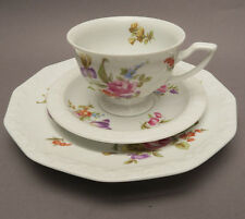 Rosenthal 3-tlg Maria White Sommerstrauss Coffee Setting Cup Saucer Plate