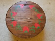 "Vintage Dufeck'S 16"" Round Wooden Cheese Box - Hand Painted - Fabric Lined"